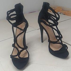 Just Fab Black Velvet Strappy Stilettos
